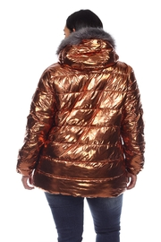 White Mark Plus Size Metallic Black Puffer Coat With Hoodie - Side cropped
