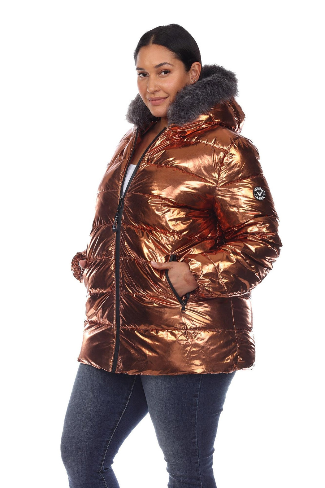White Mark Plus Size Metallic Black Puffer Coat With Hoodie - Front Full Image