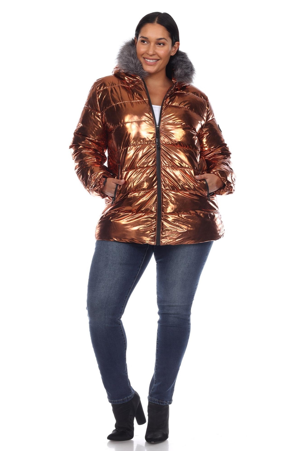 White Mark Plus Size Metallic Black Puffer Coat With Hoodie - Back Cropped Image