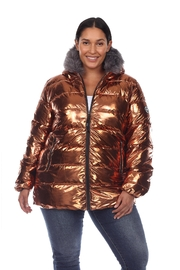 White Mark Plus Size Metallic Black Puffer Coat With Hoodie - Front cropped