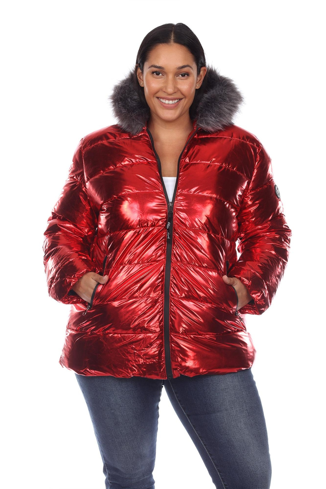 White Mark Plus Size Metallic Silver Puffer Coat With Hoodie - Main Image