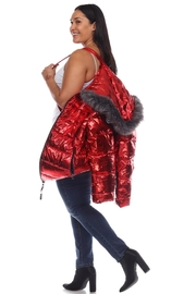 White Mark Plus Size Metallic Silver Puffer Coat With Hoodie - Other