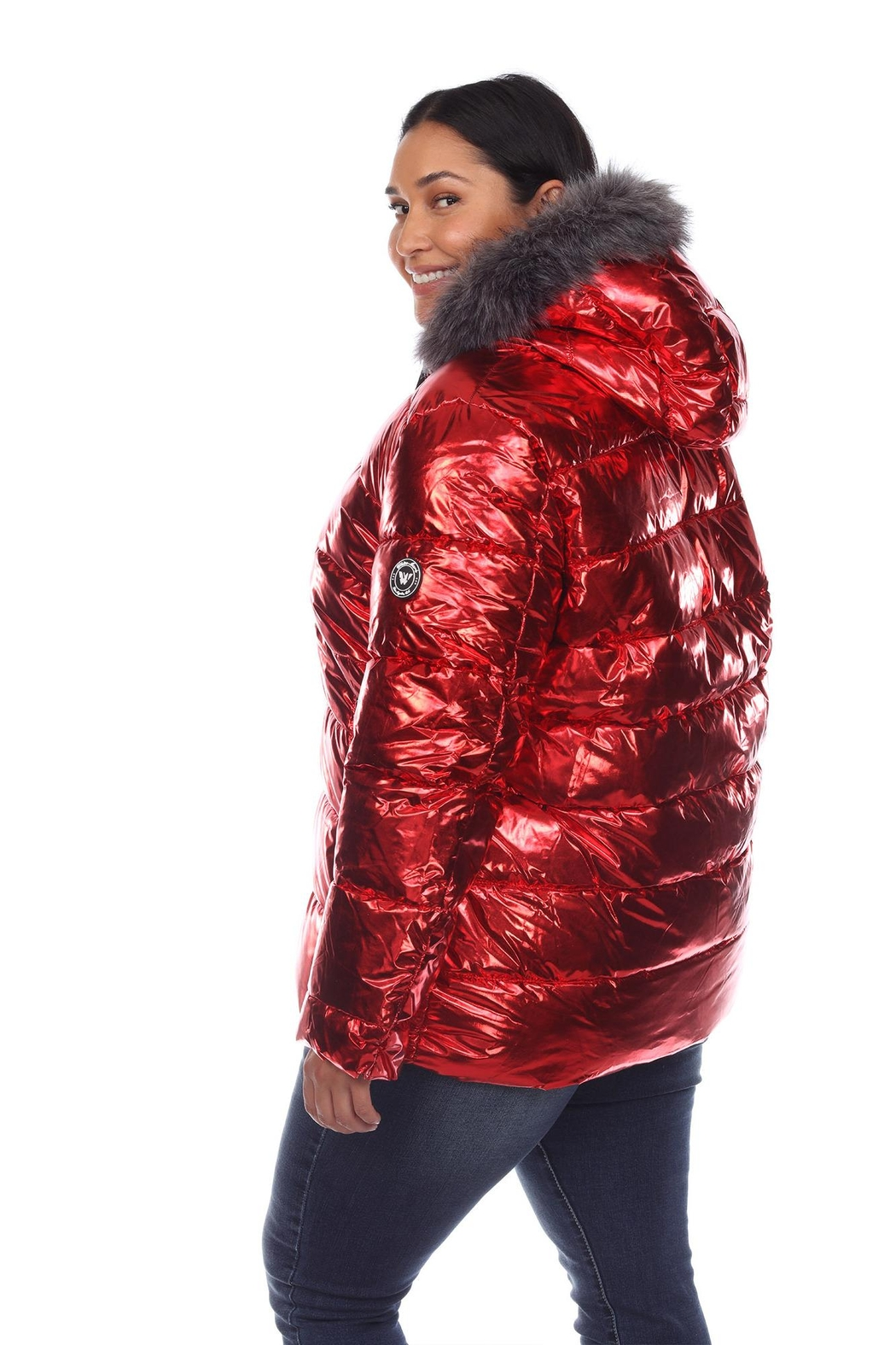 White Mark Plus Size Metallic Silver Puffer Coat With Hoodie - Side Cropped Image