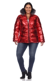 White Mark Plus Size Metallic Silver Puffer Coat With Hoodie - Back cropped