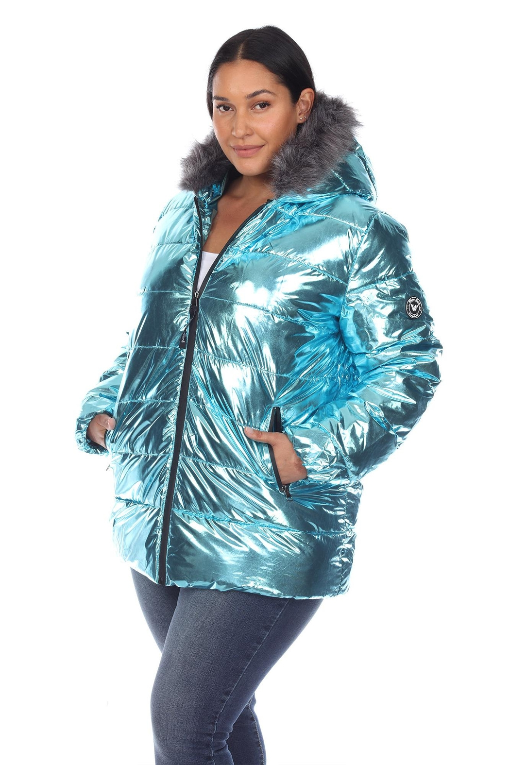 White Mark Plus Size Metallic Silver Puffer Coat With Hoodie - Front Full Image