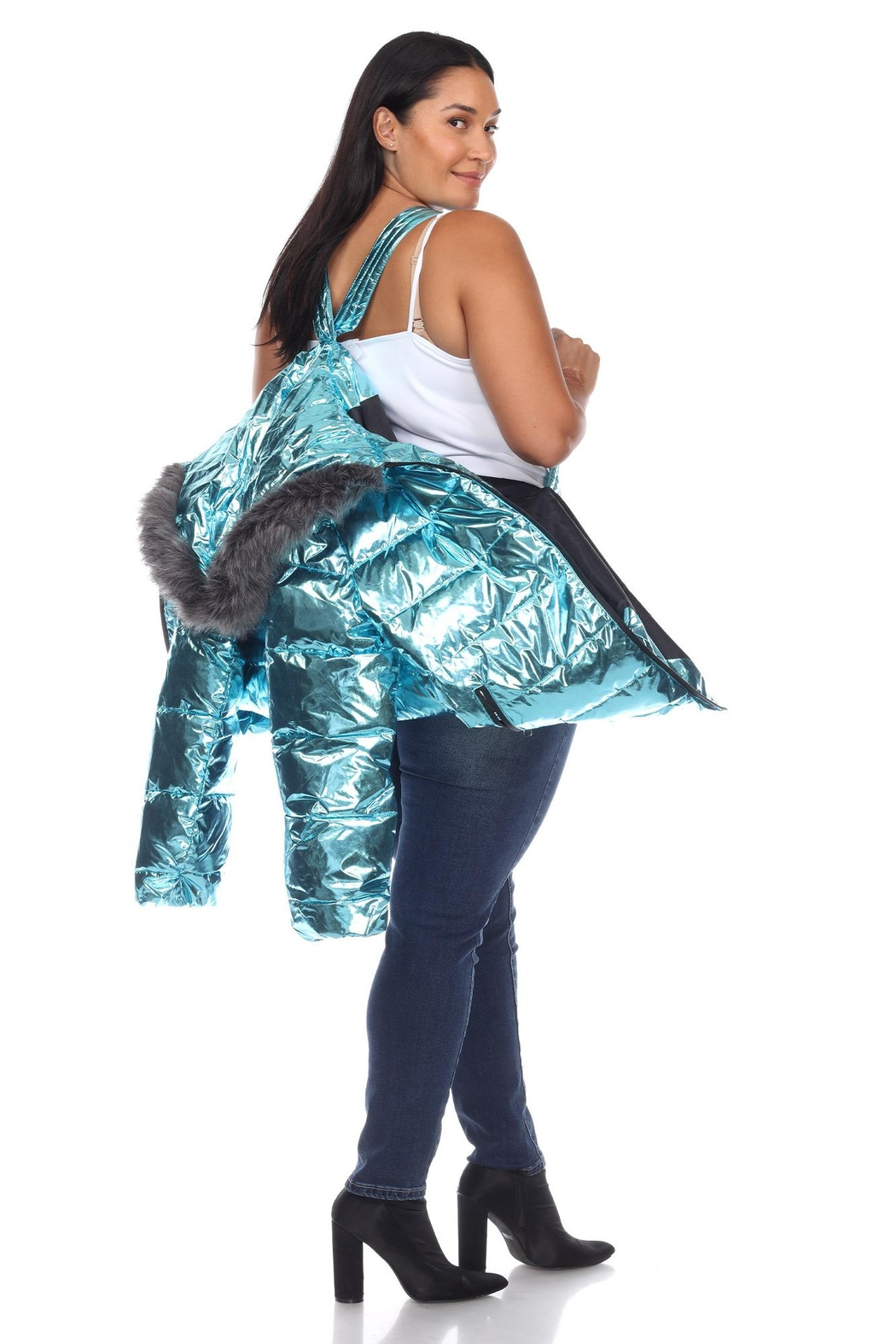 White Mark Plus Size Metallic Silver Puffer Coat With Hoodie - Back Cropped Image