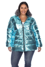 White Mark Plus Size Metallic Silver Puffer Coat With Hoodie - Front cropped