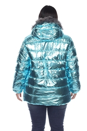 White Mark Plus Size Metallic Silver Puffer Coat With Hoodie - Side cropped