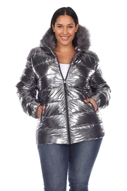 White Mark Plus Size Metallic Silver Puffer Coat With Hoodie - Product Mini Image