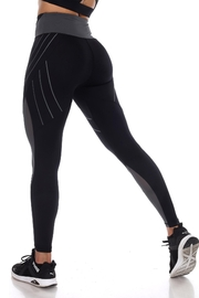 White Mark High-Waist Reflective Piping Fitness Leggings - Side cropped