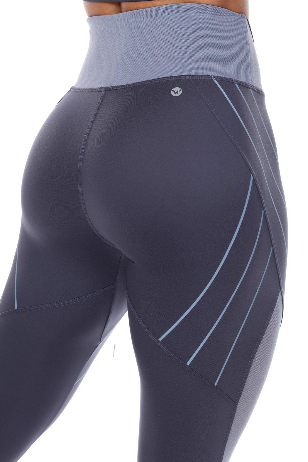 White Mark High-Waist Reflective Piping Fitness Leggings - Back Cropped Image