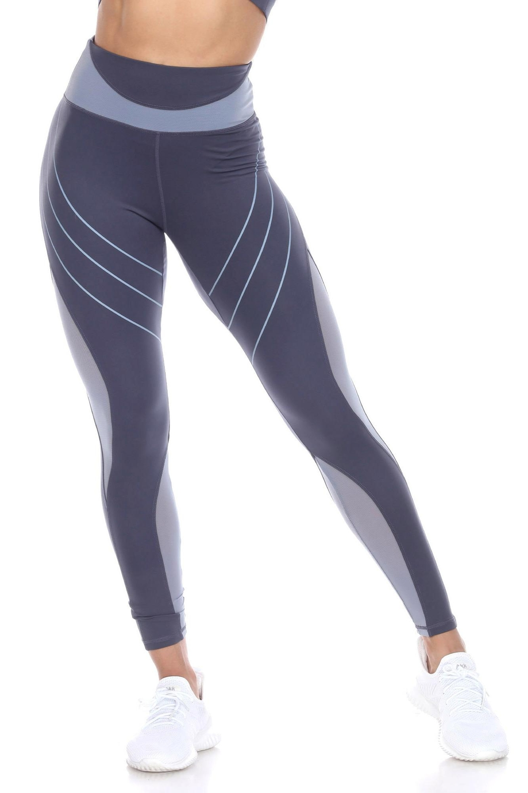 White Mark High-Waist Reflective Piping Fitness Leggings - Front Cropped Image