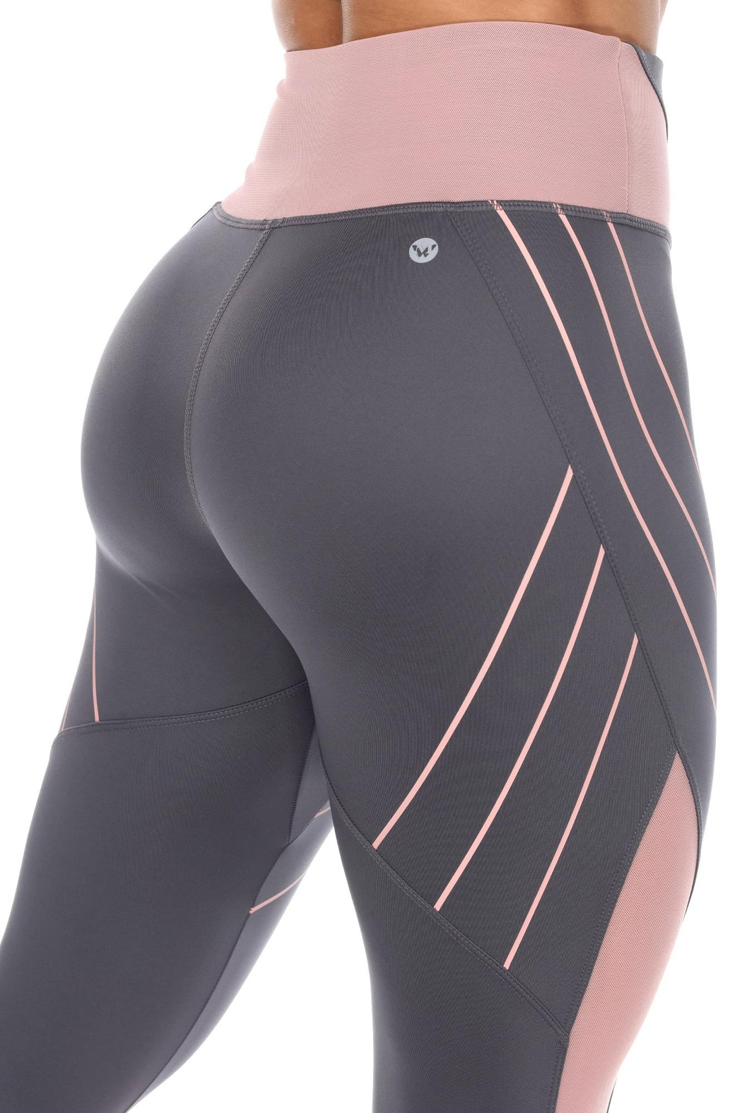 White Mark High-Waist Reflective Piping Fitness Leggings - Side Cropped Image