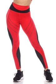 White Mark High-Waist Reflective Piping Fitness Leggings - Front cropped