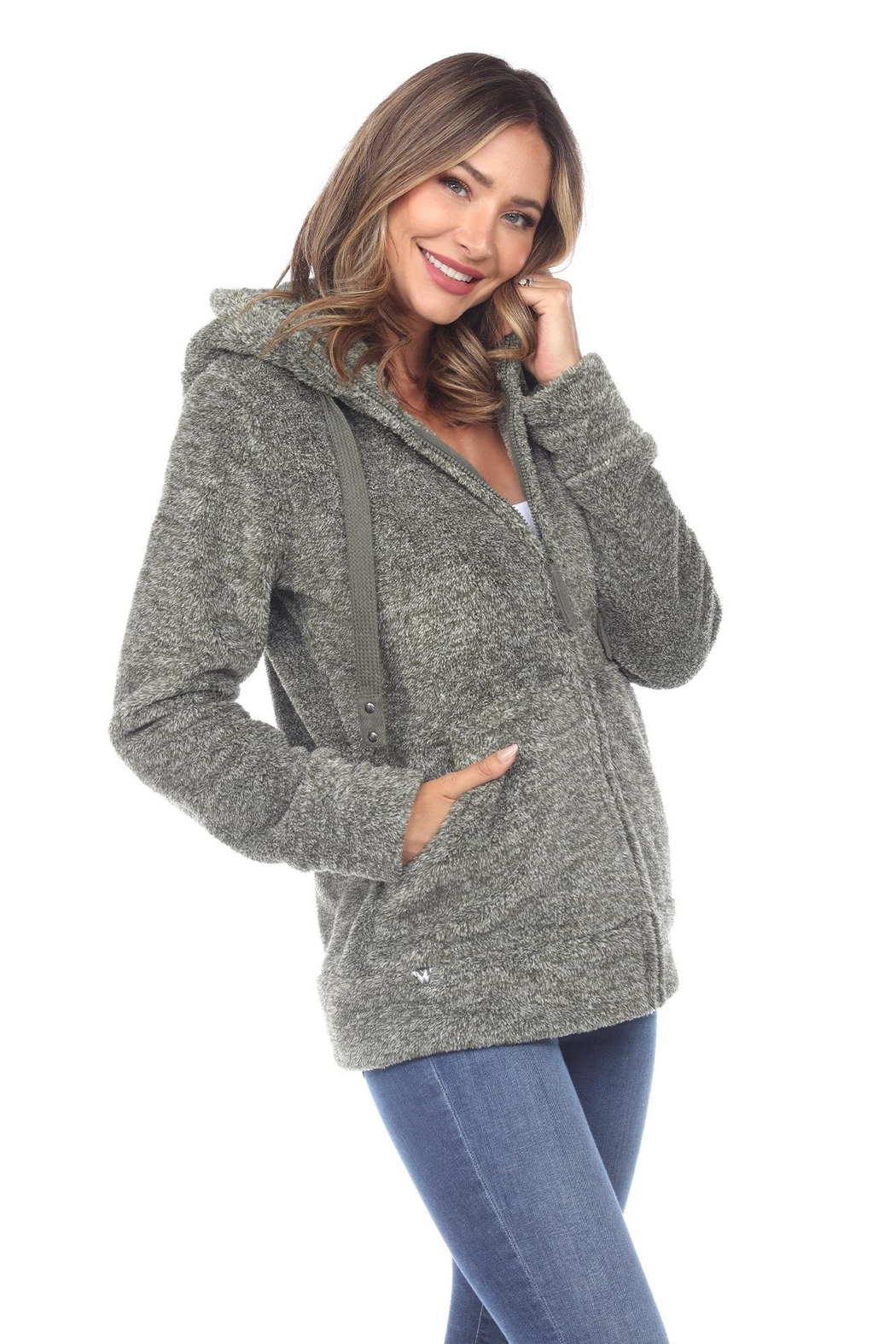 White Mark Women's Super Soft Hooded Sherpa Jackets - Front Full Image