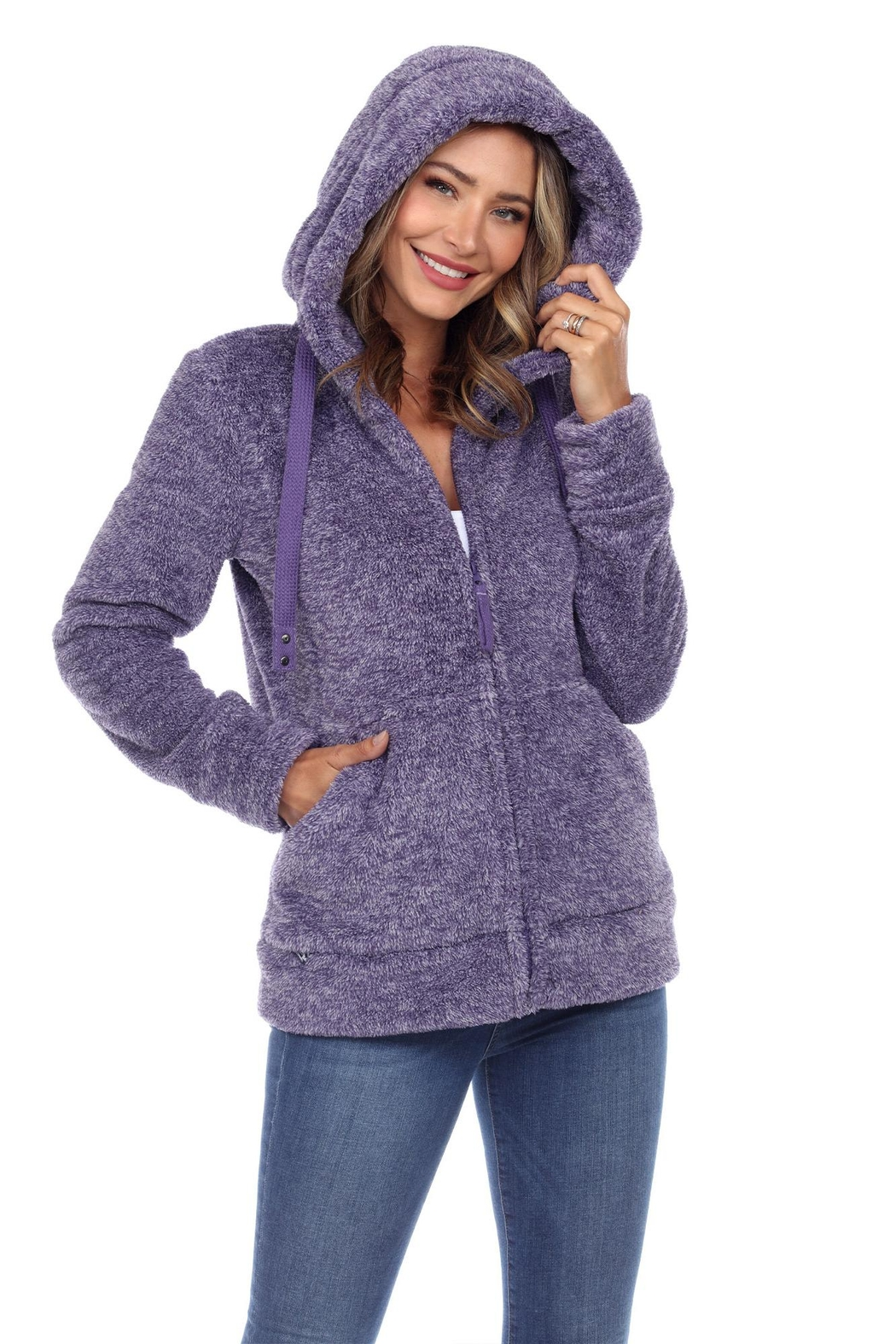 White Mark Women's Super Soft Hooded Sherpa Jackets - Front Cropped Image