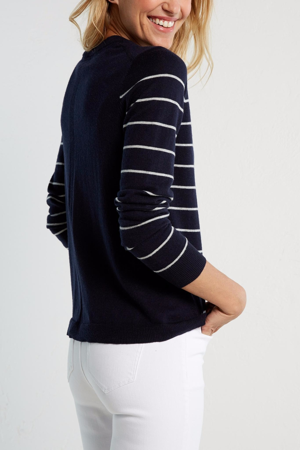 White Stuff Navy Meadow Sweater - Back Cropped Image