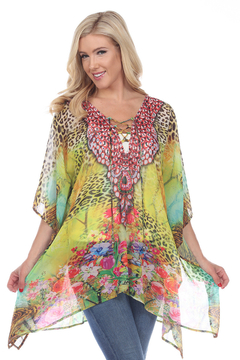 White Mark WhiteMark's Animal Print Caftan with Tie-up Neckline - Product List Image