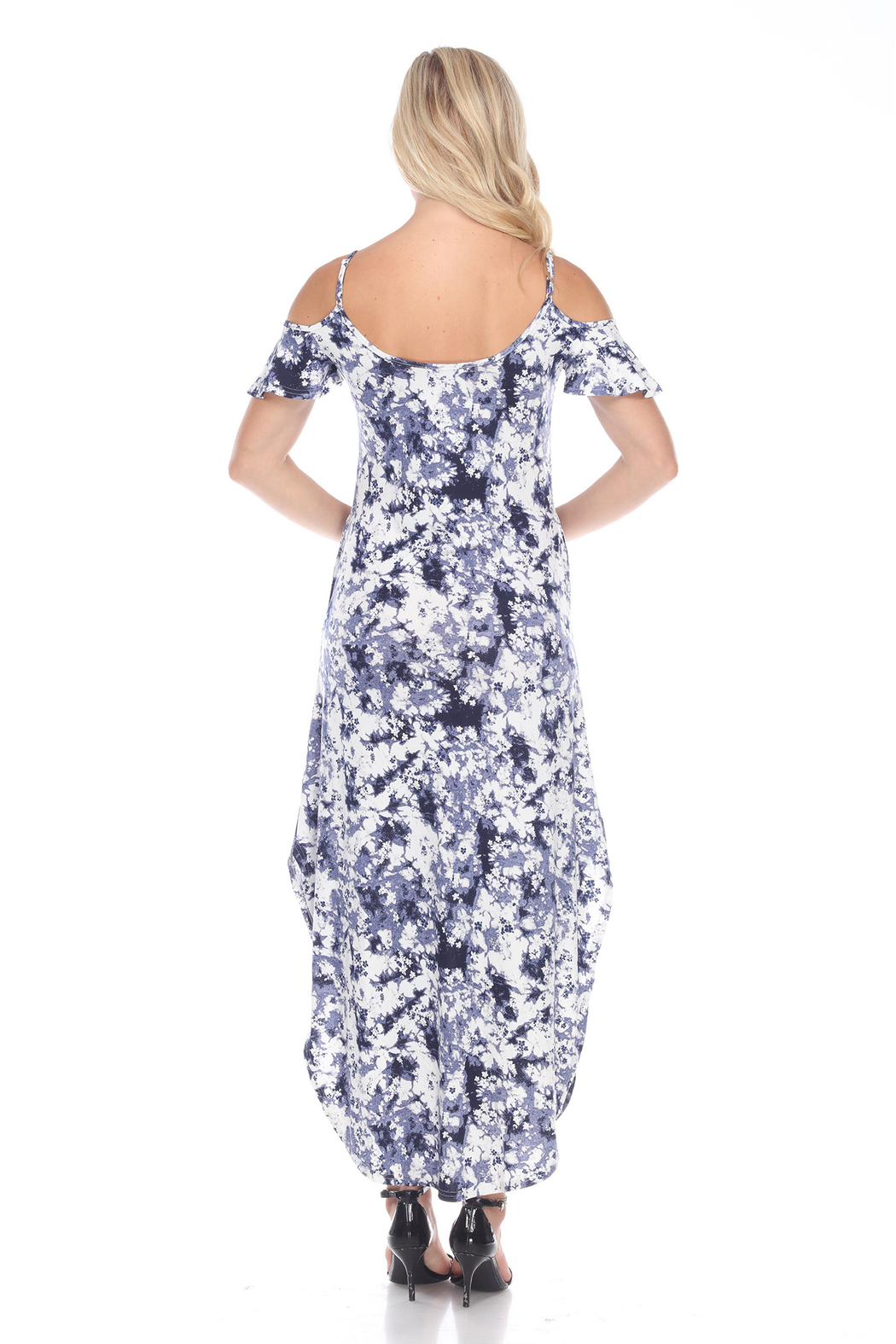 WhiteMark 's Maternity Cold Shoulder Tie-Dye Maxi Dress - Front Full Image