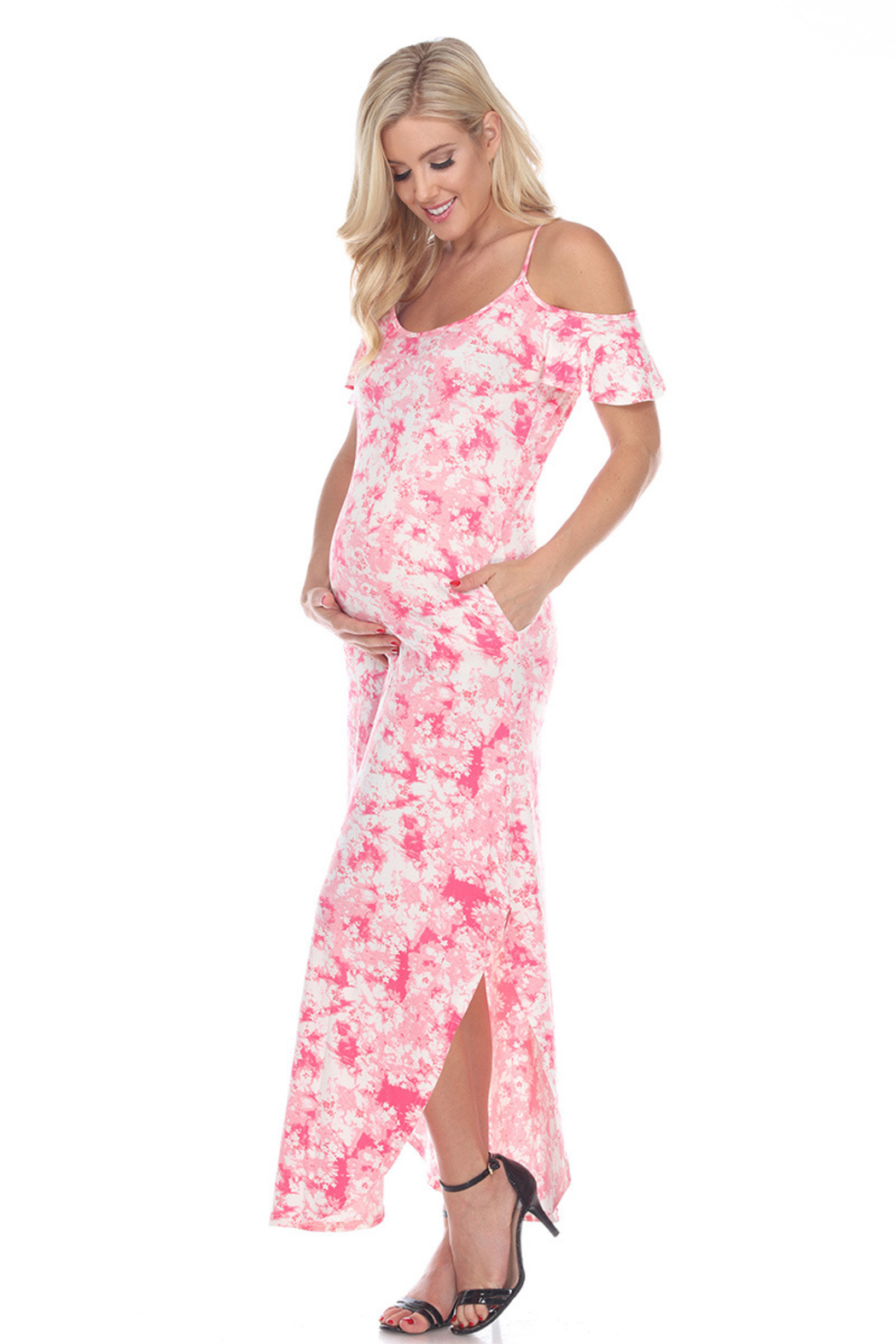 WhiteMark 's Maternity Cold Shoulder Tie-Dye Maxi Dress - Front Cropped Image