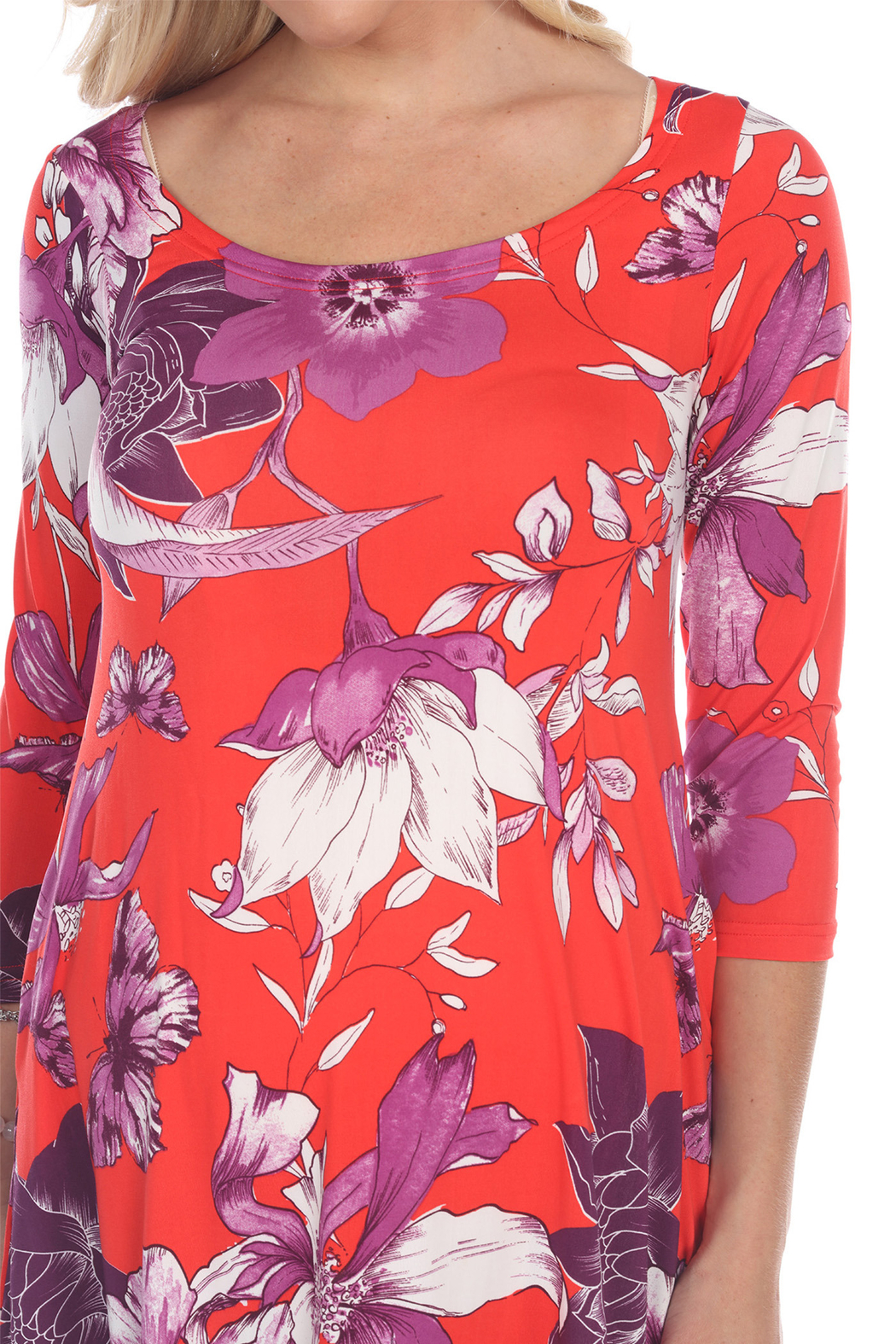 WhiteMark 's Maternity Floral Scoop Neck Tunic Top with Pockets - Side Cropped Image