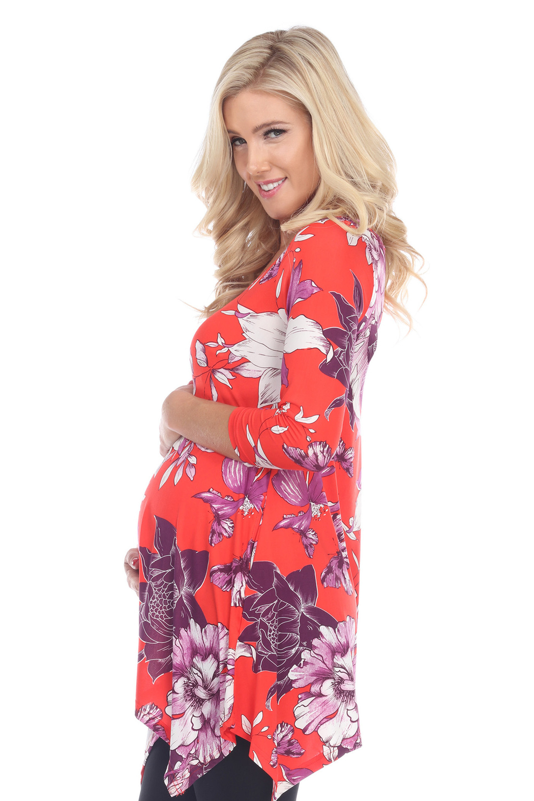 WhiteMark 's Maternity Floral Scoop Neck Tunic Top with Pockets - Front Full Image