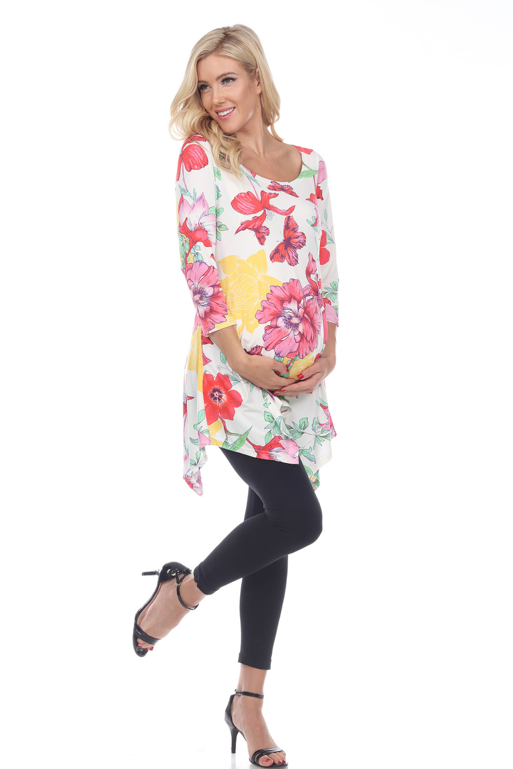 WhiteMark 's Maternity Floral Scoop Neck Tunic Top with Pockets - Front Cropped Image