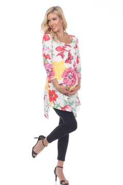 Shoptiques Product: WhiteMark's Maternity Floral Scoop Neck Tunic Top with Pockets