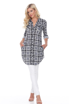 White Mark  WhiteMark's Piper Black Stretchy Plaid Tunic - Product List Image