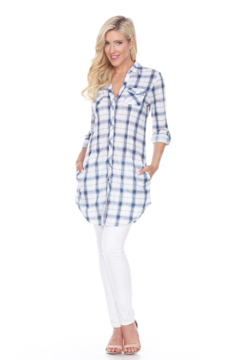 White Mark  WhiteMark's Piper' Stretchy Blue White Plaid Tunic - Product List Image
