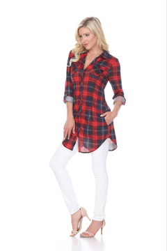 White Mark  WhiteMark's Piper Stretchy Plaid Tunic - Product List Image