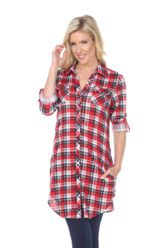 White Mark  WhiteMark's Piper Stretchy Red Blue Plaid Tunic - Product List Image