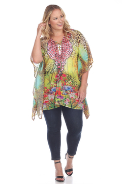 White Mark WhiteMark's Plus Size Animal Print Caftan with Tie-up Neckline - Product List Image
