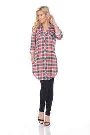 White Mark WhiteMark's Women's Piper Stretchy Grey Plaid Tunic - Product Mini Image