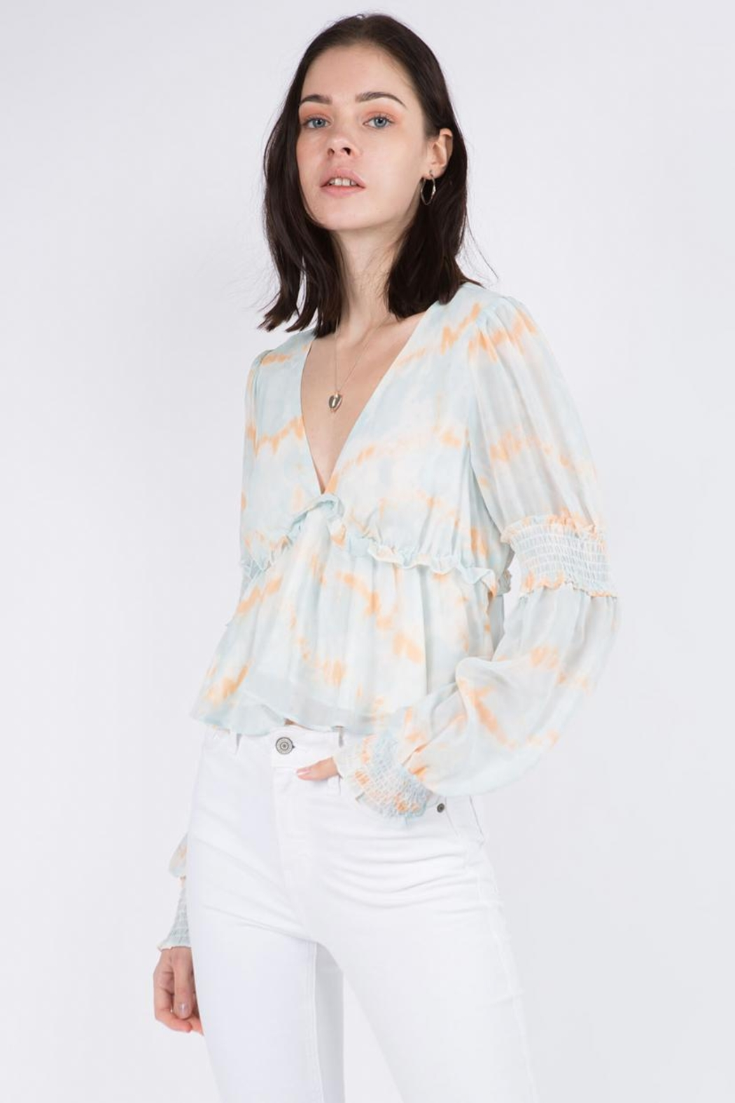 Whiteroom Cactus Tie Dye Top - Front Cropped Image
