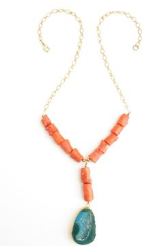 Whitley V Gold Coral Necklace - Product List Image