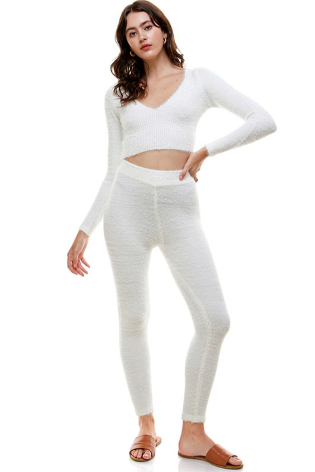 ACOA Whitney Fuzzy Crop Top - Front Full Image