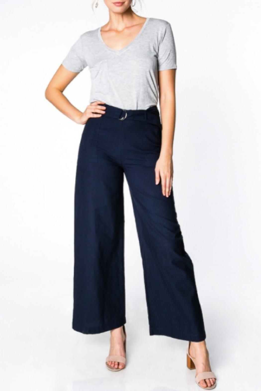 Everly Wide-Leg Belted Pants - Main Image