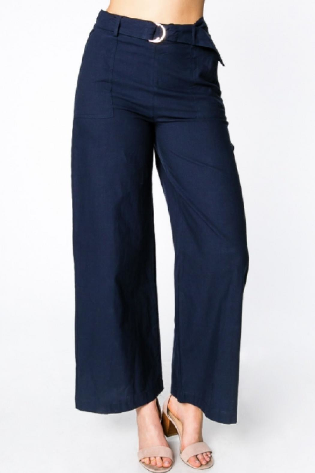 Everly Wide-Leg Belted Pants - Front Full Image