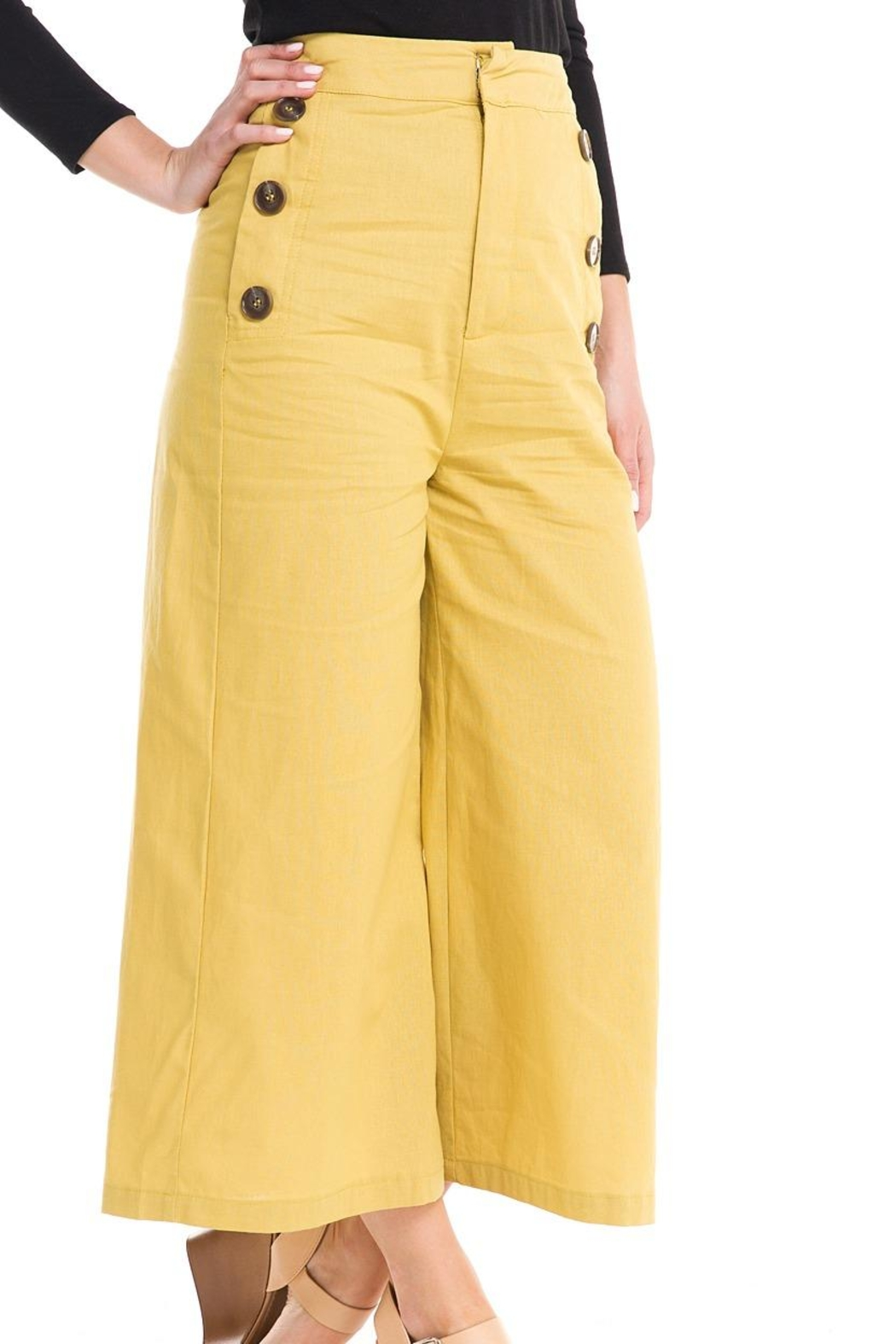Do & Be Wide-Leg Button Pants - Front Full Image