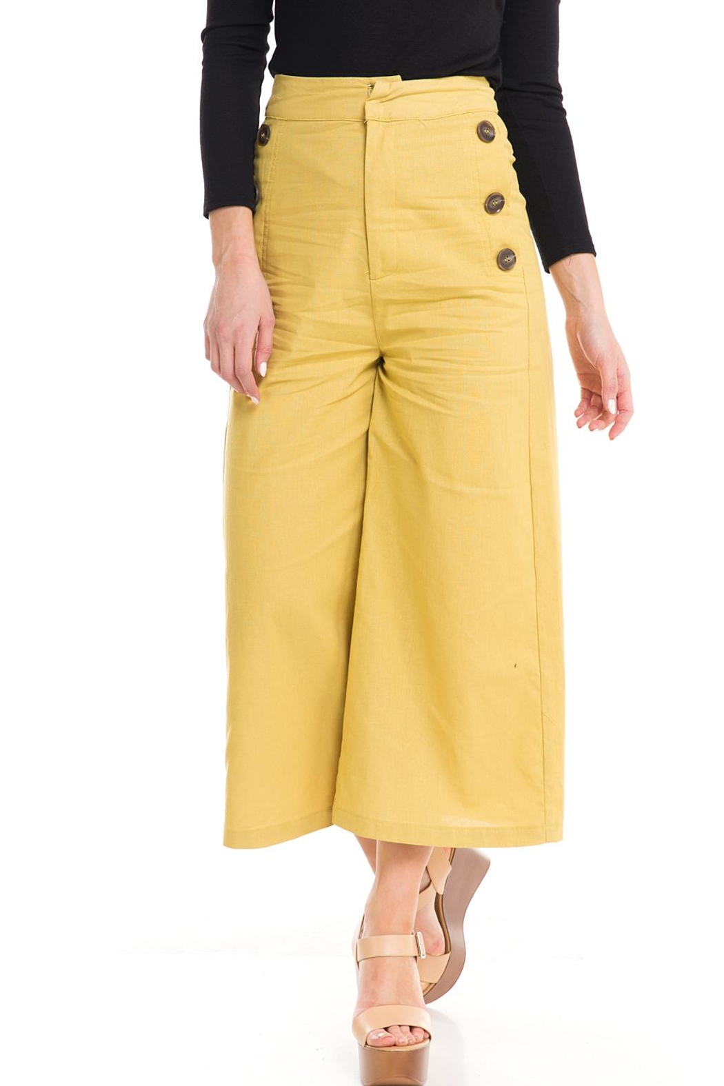 Do & Be Wide-Leg Button Pants - Front Cropped Image