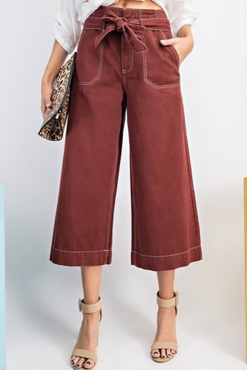 Esley Wide Leg Crop Pants from California by bellarissa — Shoptiques