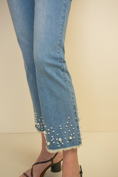 Joseph Ribkoff  Wide leg cropped jean with unfinished hem and sparkle and pearl detail. - Alternate List Image