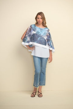 Joseph Ribkoff  Wide leg cropped jean with unfinished hem and sparkle and pearl detail. - Product List Image