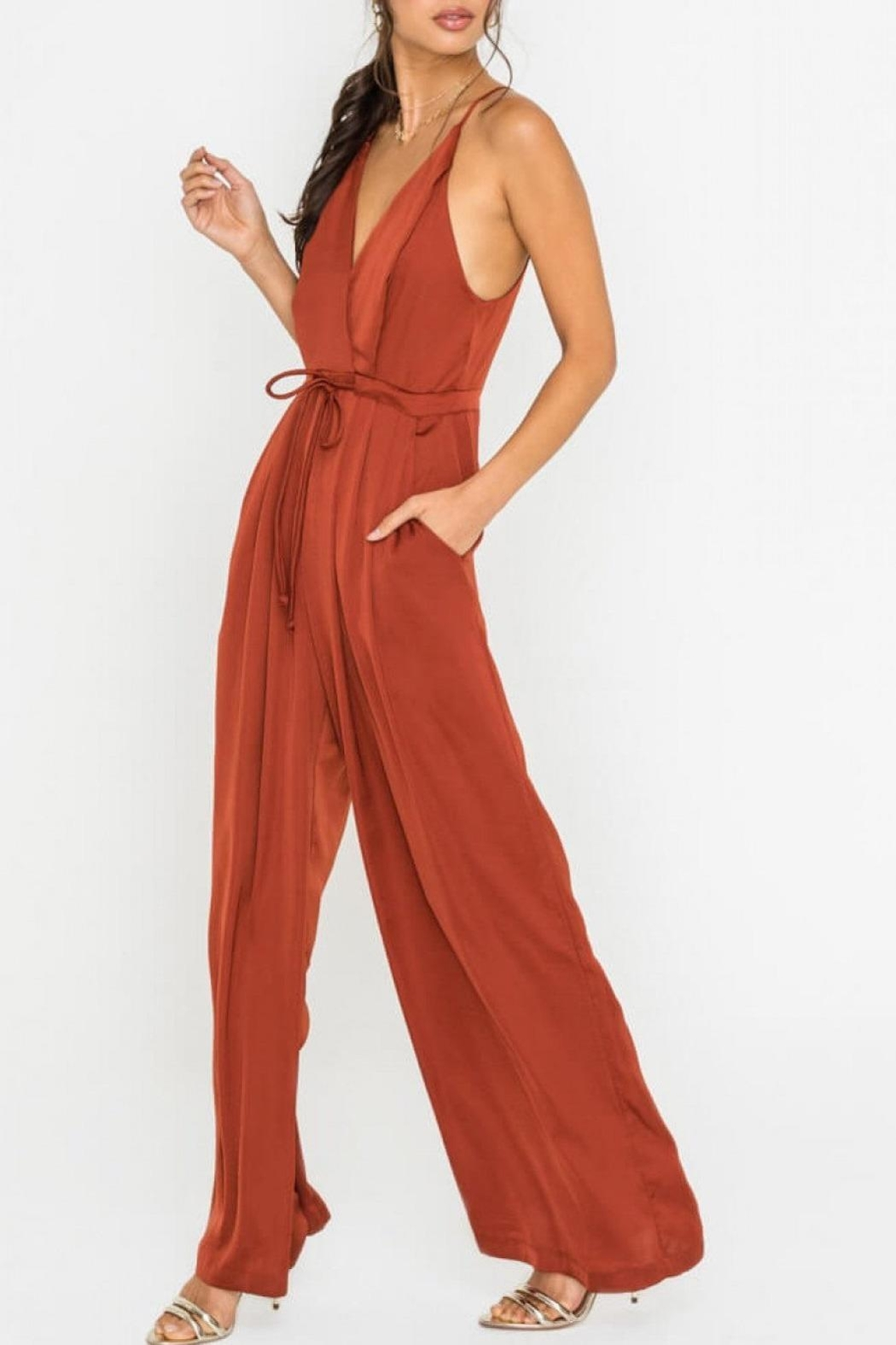 Lush Clothing  Wide-Leg Drawstring-Waist Jumpsuit - Front Cropped Image