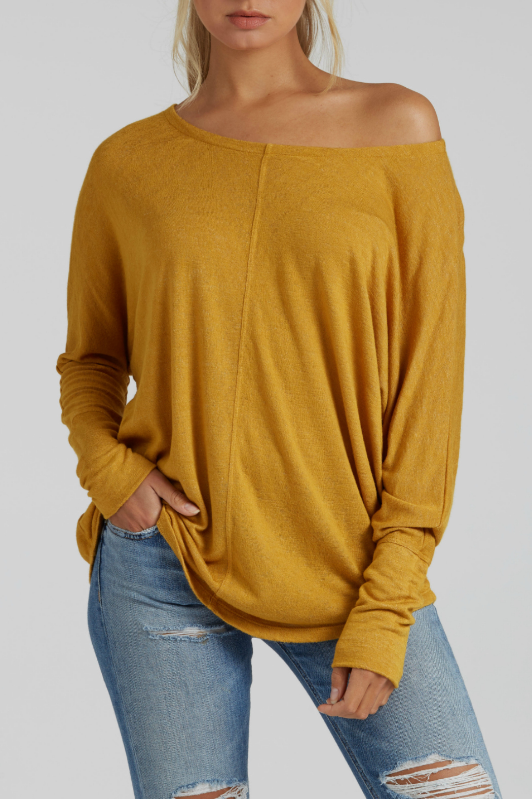 Mila Wide Neck Batwing Top - Main Image