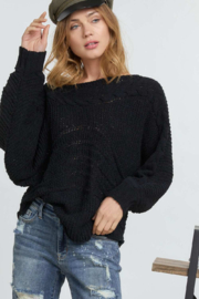 DAVI AND DANI Wide Neck Cable Knit Sweater - Front cropped