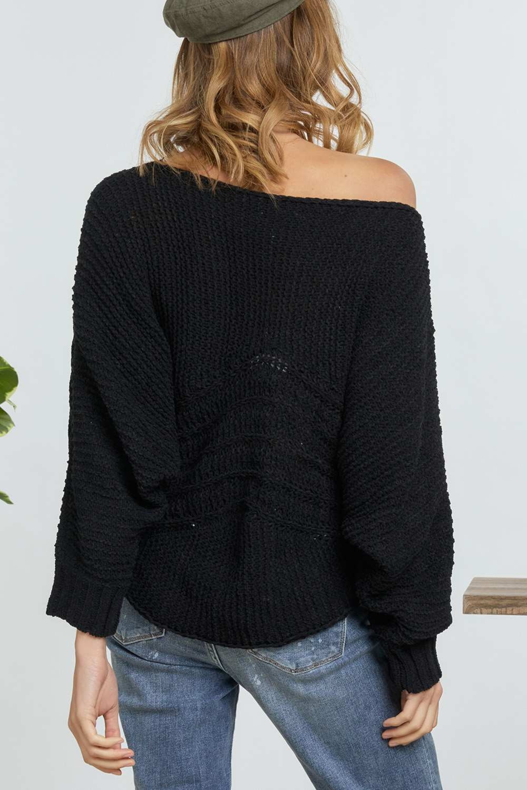 DAVI AND DANI Wide Neck Cable Knit Sweater - Side Cropped Image
