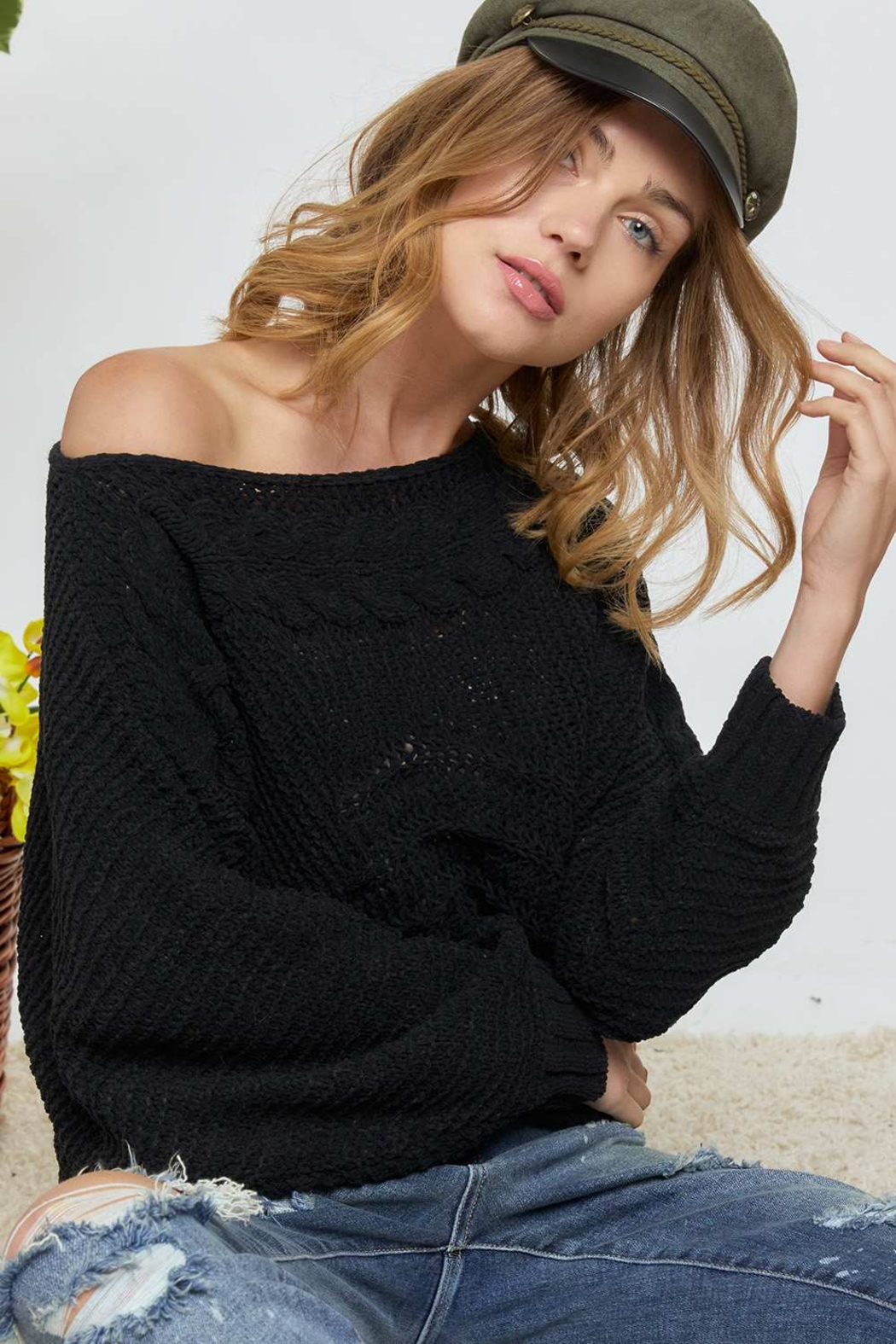 DAVI AND DANI Wide Neck Cable Knit Sweater - Main Image
