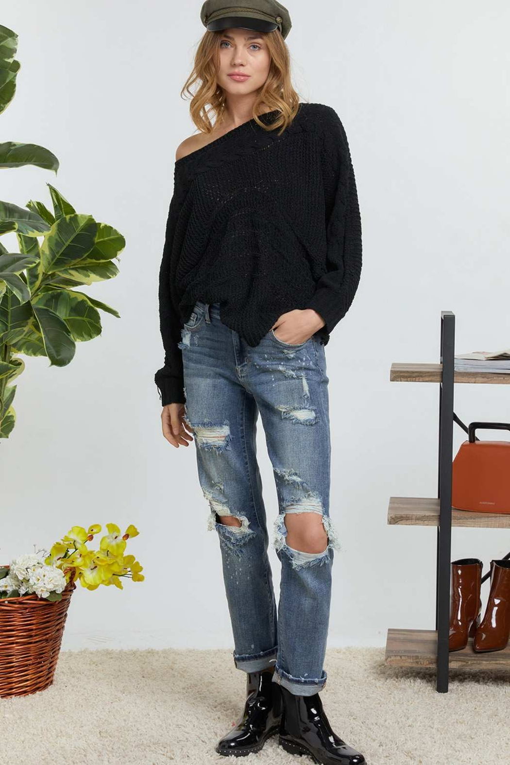 DAVI AND DANI Wide Neck Cable Knit Sweater - Back Cropped Image